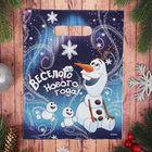 """Пакет подарочный полиэтиленовый """"С новым годом!"""", Холодное сердце, 23 х29,5 см"""