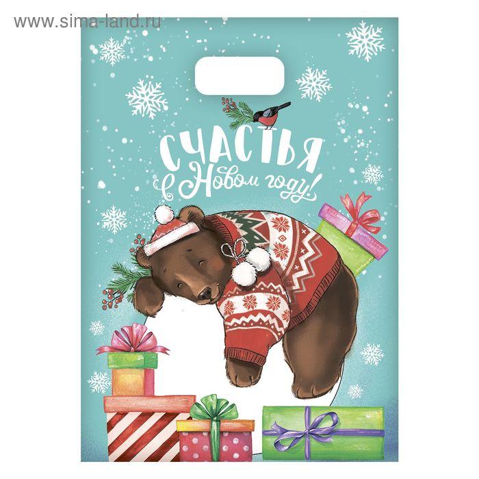 Пакет подарочный полиэтиленовый «Медведик в свитере», 17 × 20 см