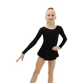 Купальник гимнастический х/б с юбкой, длинный рукав, цвет черный (р. 32) Ош
