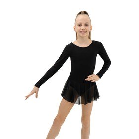 Купальник для хореографии х/б, длинный рукав, юбка-сетка, размер 28, цвет чёрный