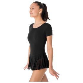 Купальник для хореографии х/б, короткий рукав, юбка-сетка, размер 40, цвет чёрный