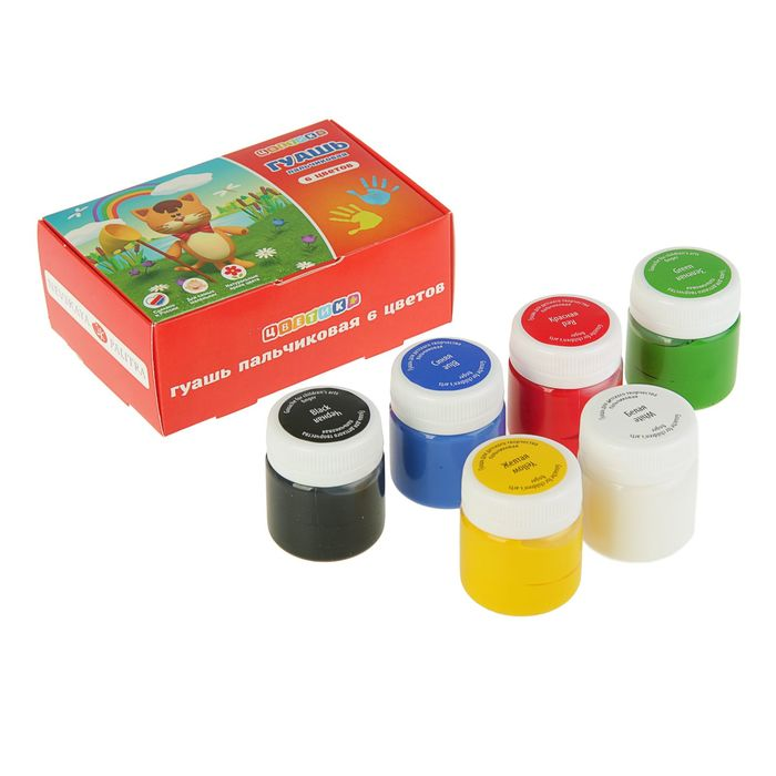 Краски пальчиковые набор 6 цветов х 40 мл ЗХК Цветик 3041243