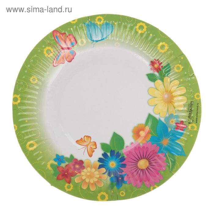 """Набор бумажных тарелок """"Цветы"""" (6 шт.), 18 см"""