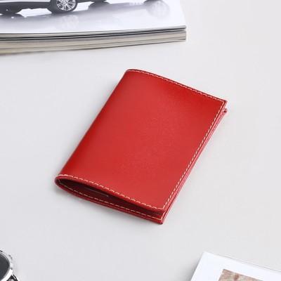 Обложка для пенсионного удостоверения, прозрачное окно, анилин красный