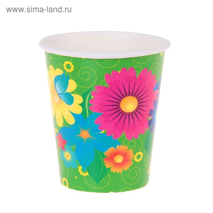 """Набор бумажных стаканов """"Цветы"""", 225 мл (6 шт.)"""