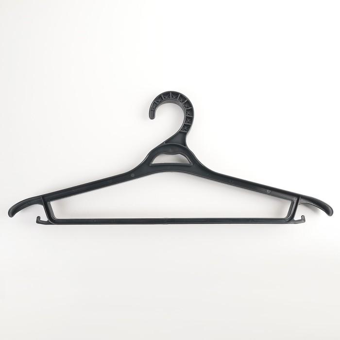 Вешалка-плечики для верхней одежды, размер 52-54, цвет чёрный - фото 4642710