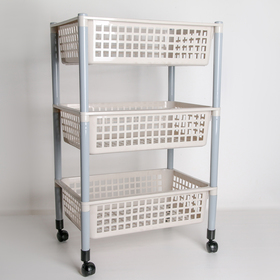 3-section vegetable container, on wheels, white