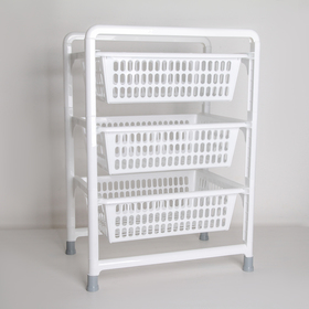 3-section vegetable container with pull-out trays, white