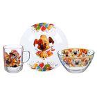 """Набор посуды """"Озорная семейка. Озорной Бублик"""", 3 предмета: тарелка 19 см, кружка 210 мл, салатник d=13 см, 250 мл"""