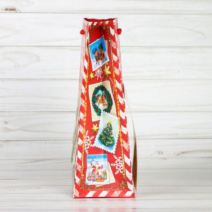 Пакет ламинированный с открыткой «Письмо от дедушки мороза», 18 × 23 × 8 см
