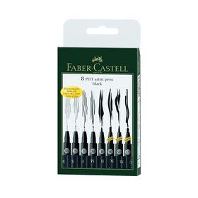 Набор ручек капиллярных Faber-Castell PITT® Artist Pen, 8 штук, разные типы (M,F,S,XS,B,SC,SB,1.5), цвет черный, (светостойкие)