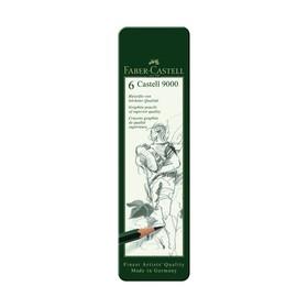 Набор карандашей чернографитных разной твердости Faber-Castell CASTELL 9000, 6 штук, 8B, 6B, 4B, 2B, B, HB, металлический пенал