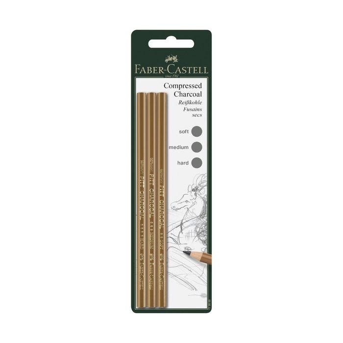 Уголь в карандаше набор Faber-Castell PITT® Monochrome Charcoal 3шт(Soft/extraSoft/Medium)