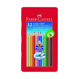 Карандаши 12 цветов Faber-Castell GRIP 2001 трёхгранные, в металлической коробке