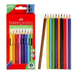 Карандаши Jumbo 10 цветов, Faber-Castell, трёхгранные, с точилкой, картонная коробка