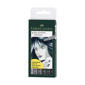 Ручка кисть капиллярная набор Faber-Castell PITT Artist Pen Soft Brush 6 цветов оттенки серого