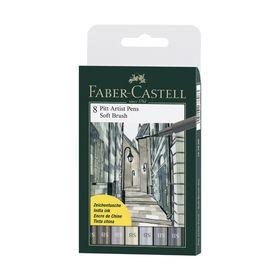 Ручка-кисть капиллярная набор Faber-Castell PITT Artist Pen Soft Brush 8 цветов, пастельные тона