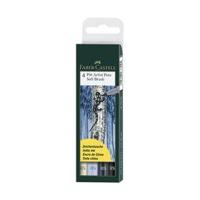 Ручка-кисть капиллярная набор Faber-Castell PITT Artist Pen Soft Brush 4 цвета, оттенки синего