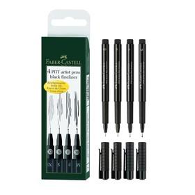 Набор ручек капиллярных Faber-Castell PITT® Artist Pen, линер, 4 штуки (M,F,S,XS), цвет черный (светостойкие)