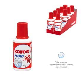 Корректирующая жидкость KORES FLUID, 20 мл, на быстросохнущей основе, Soft Tip, поролоновый аппликат