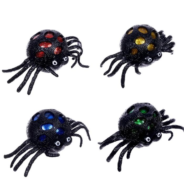 Прикол мялка паук световой , цвета МИКС