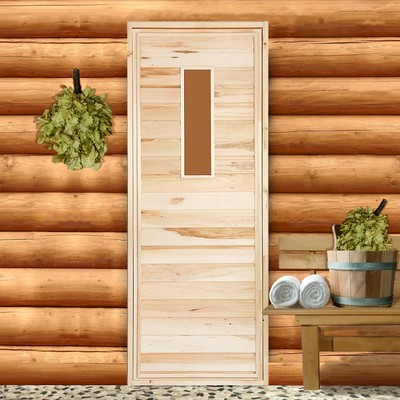 """Дверь для бани со стеклом """"Прямое стекло"""", 190×80см, ПРОМО"""