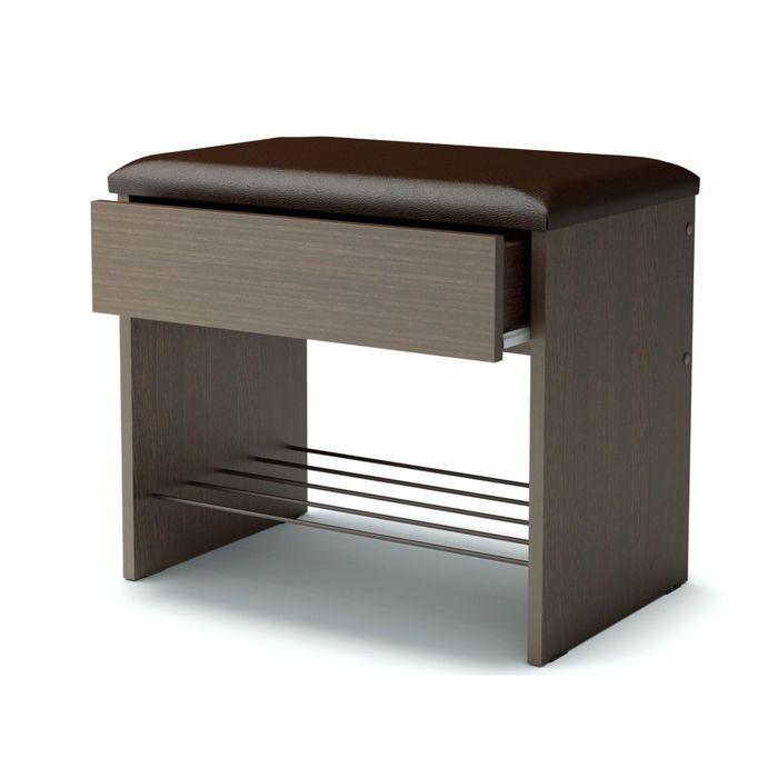 Банкетка с ящиком 550х350х466 венге/искусственная кожа, коричневый