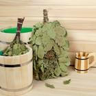 Веник для бани ЭКСТРА из кавказского дуба с букетом из трав