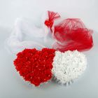 Сердца двойные на решетку радиатора с цветами + двойная фата+бант на зеркало,бело-красные