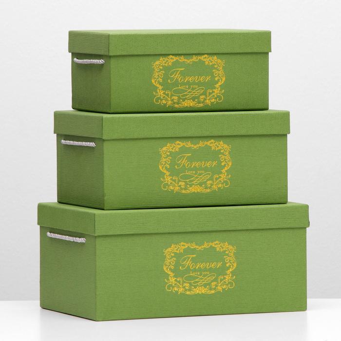 Набор коробок 3 в 1, зелёный, 32,5 х 22 х 15 - 25 х 16 х 11 см - фото 1741294