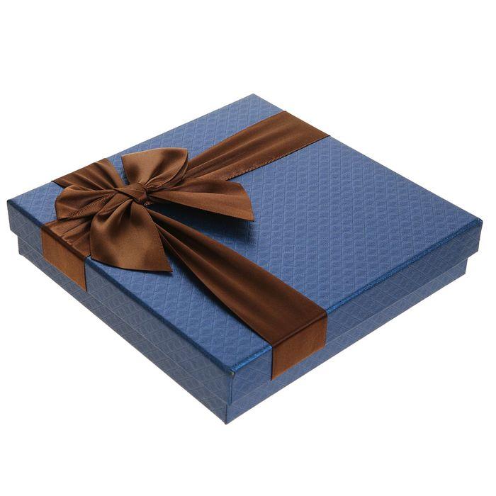 Коробка подарочная для конфет, синий, 18,5 х 18,5 х 4 см