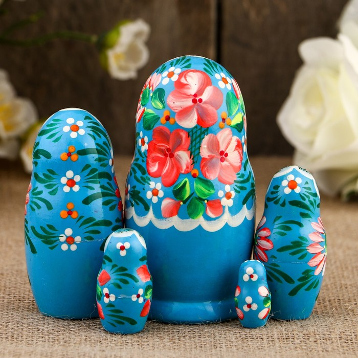 Матрёшка «Розочки», голубой платок, 5 кукольная, 10,5 см