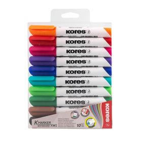 A set of markers for the board, 10 colors, 3.0 mm, KORES 20800.