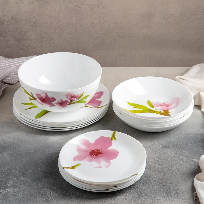 Сервиз столовый Water Color, 19 предметов: 6 тарелок обеденных 25 см, 6 тарелок глубоких 20 см, 6 тарелок плоских 18 см, салатник большой 21 см