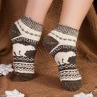 Носки женские шерстяные укороченные «Белый медведь», цвет серый, размер 25