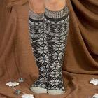 Гольфы (получулки) женские шерстяные «Снежинка белая», цвет серый, размер 23