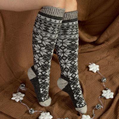 Гольфы (получулки) женские шерстяные «Снежинка белая», цвет серый, размер 25