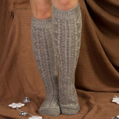 Гольфы (получулки) женские шерстяные Фактурная вязка, цвет серый, размер 23