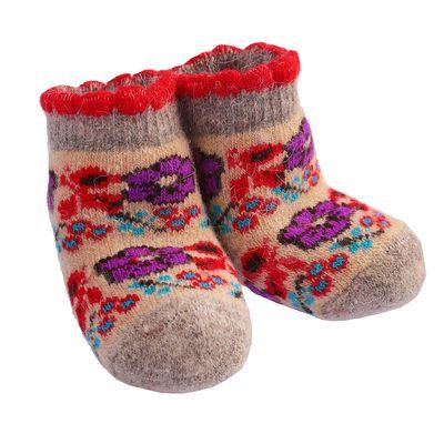 Носки детские шерстяные «Цветочки», цвет песочный, размер 12