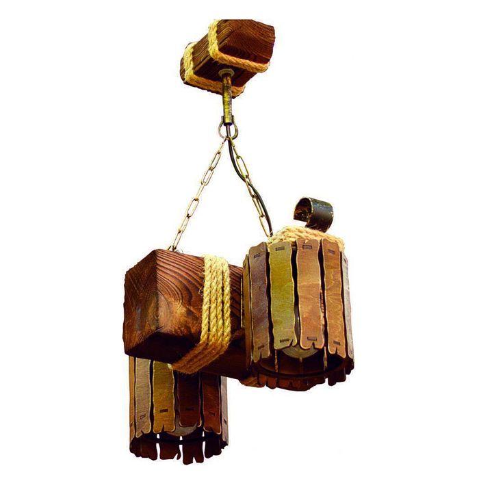 """Люстра деревянная """"Заборчик"""", 2 плафона"""