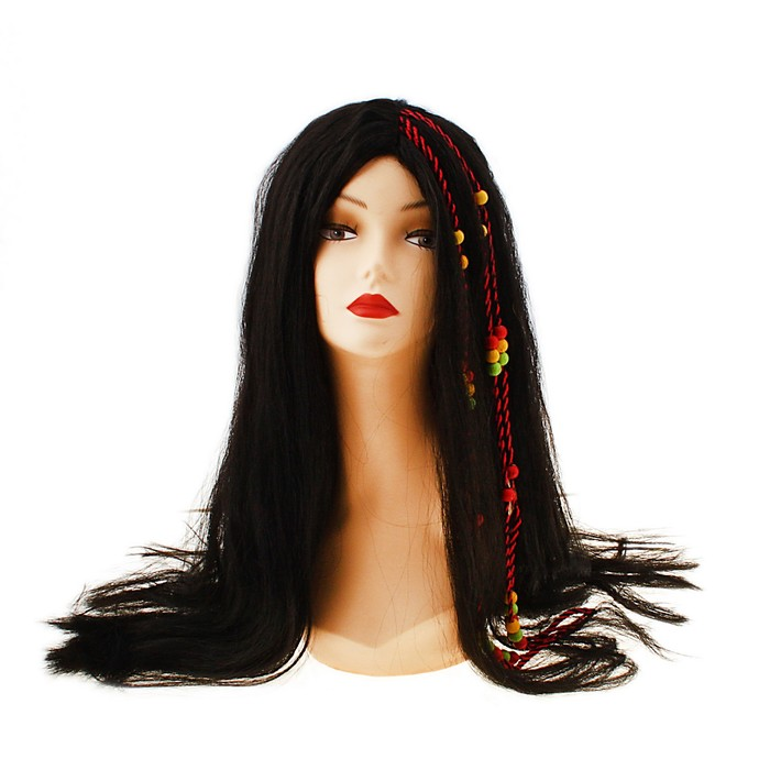 """Карнавальный парик """"Косички в причёске"""", 140 г, цвет чёрный"""
