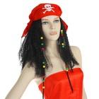 """Карнавальный парик """"Пиратка в бандане"""" с косичками, 120 г, цвет чёрный"""