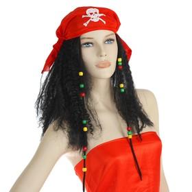 Карнавальный парик «Пиратка в бандане», с косичками, 120 г, цвет чёрный