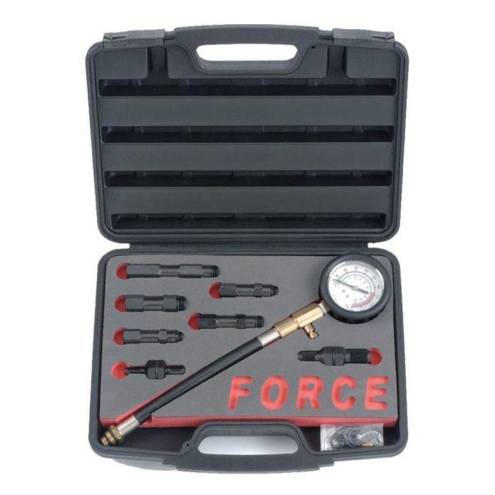 Компрессометр для бензиновых двигателей с насадками 10,12,14,18мм 9пр. в кейсе FORCE