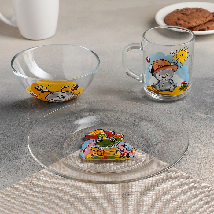 "Набор для завтрака ""Веселые зверюшки"", 3 предмета: тарелка 20 см, салатник 13 см, кружка 200 мл, рисунок МИКС"