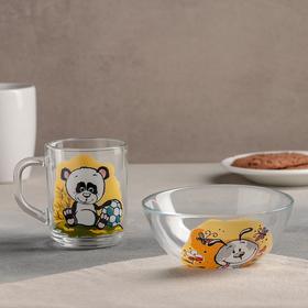 Набор для завтрака GiDGLASS GiDGLASS « GiDGLASS «Весёлые зверюшки», 2 предмета: салатник 13 см, кружка 200 мл, рисунок МИКС