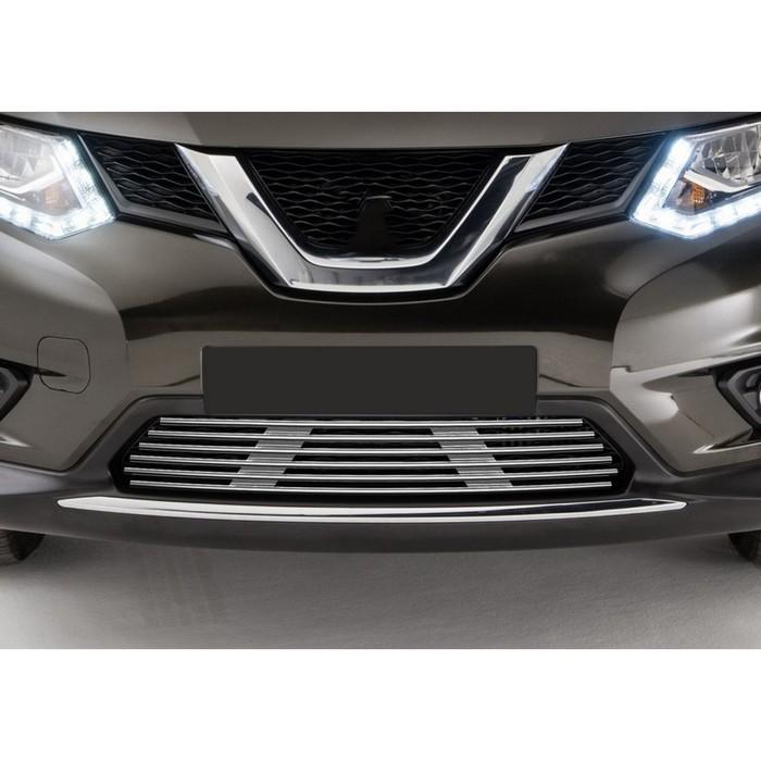 Решетка бампера Rival для Nissan X-trail 2015-, с передними парктрониками, G.4103.002
