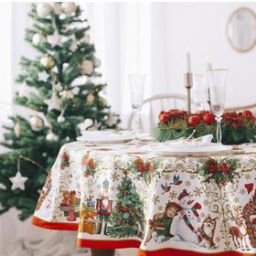 "Tablecloth round Ethel ""Christmas toys"", d = 160 cm, 100 % cotton"