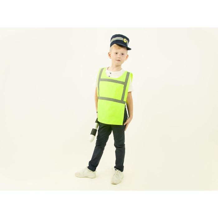 Карнавальный костюм «Инспектор ДПС», жилет, кепка, жезл, рост 110-116 см - фото 1741928