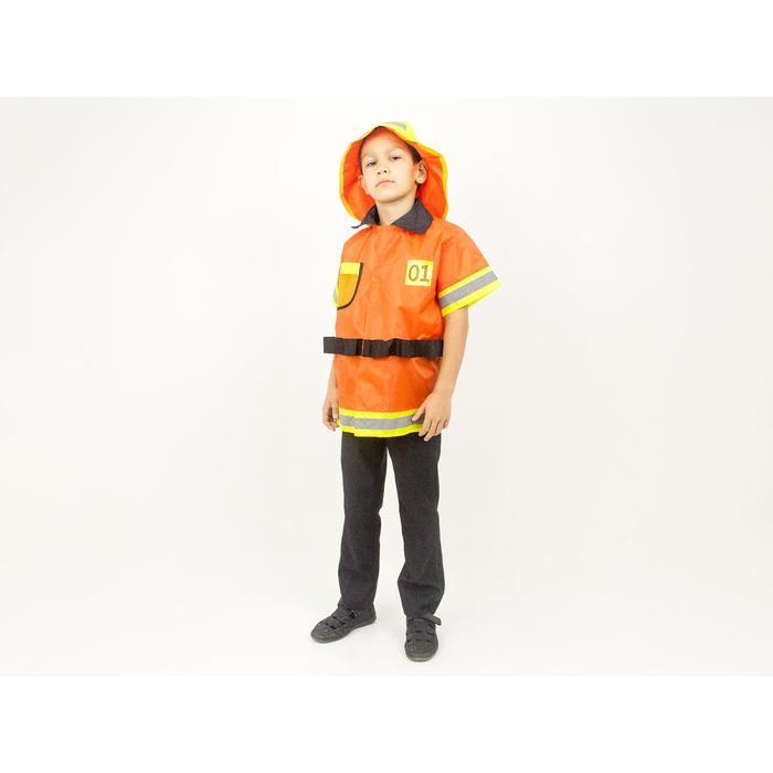 Карнавальный костюм «Пожарный», куртка, шлем, рост 110-128 см - фото 1741946